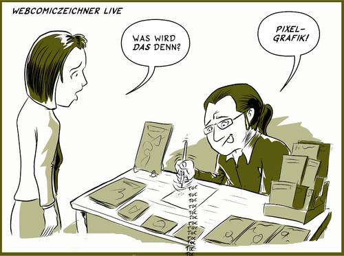 Cartoon: Webcomiczeichner Live (medium) by Jaehling tagged comiczeichner,zeichner,messen,comic,webcomic