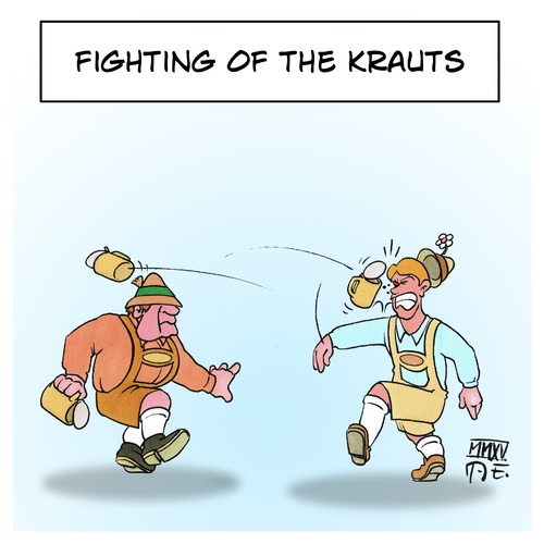 Cartoon: Fighting of the Krauts (medium) by Timo Essner tagged krauts,german,lederhosen,fighting,of,the,play,on,words,cartoon,caricature,germans,krauts,german,lederhosen,fighting,of,the,play,on,words,cartoon,caricature,germans