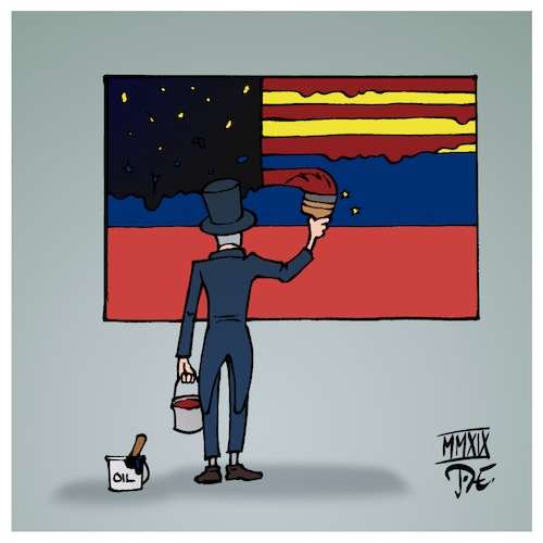 Cartoon: Venezuela (medium) by Timo Essner tagged venezuela,usa,südamerika,bolivien,chavez,economic,hitmen,jackals,juan,guaido,nicolas,maduro,contra,affäre,cia,öl,oil,the,revolution,will,not,be,televised,cartoon,timo,essner,venezuela,usa,südamerika,bolivien,chavez,economic,hitmen,jackals,juan,guaido,nicolas,maduro,contra,affäre,cia,öl,oil,the,revolution,will,not,be,televised,cartoon,timo,essner