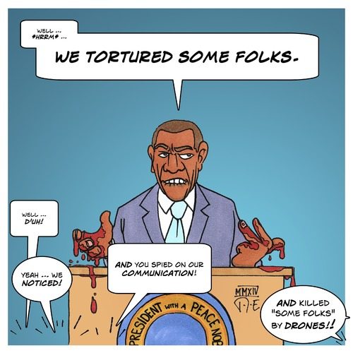 Cartoon: We tortured some folks (medium) by Timo Essner tagged folter,torture,guantanamo,folterflieger,obama,usa,cia,nsa,rechtsstaat,democracy,folter,torture,guantanamo,folterflieger,obama,usa,cia,nsa,rechtsstaat,democracy