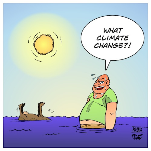 Cartoon: What Climate Change? (medium) by Timo Essner tagged climate,change,ecology,nature,extreme,weather,catastrophe,earth,warming,floods,heat,wave,cartoon,timo,essner,climate,change,ecology,nature,extreme,weather,catastrophe,earth,warming,floods,heat,wave,cartoon,timo,essner
