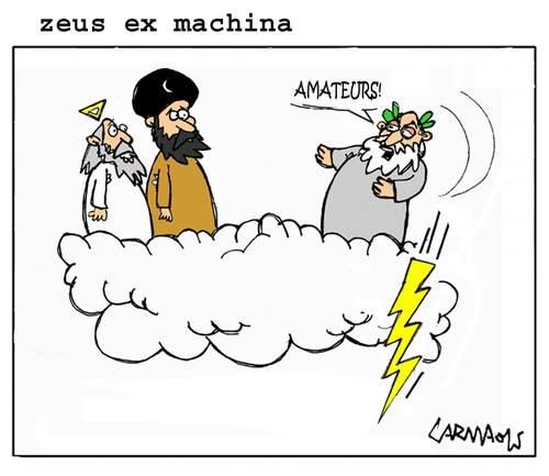 Cartoon: Zeus Ex Machina (medium) by Carma tagged greece,elections,greek,zeus,god,islam,religion,politics,mohammed,allah,tsipras