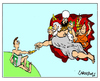 Cartoon: Gods and Pencils (small) by Carma tagged creation,religion,charlie,hebdo,cartoonist,gods,mahomet,buddha,zeus,heaven,adam,cartoon,carma