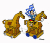 Cartoon: Horses (small) by Carma tagged horses horse of troy troyka greece alexis tsipras angela merkel