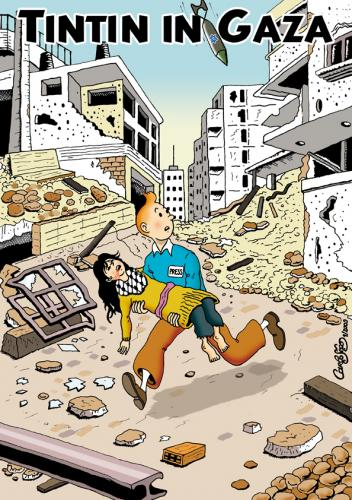 Cartoon: Tintin in Gaza (medium) by carloseco tagged tintin,gaza,palestina