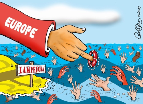 Cartoon: Tragedy in Lampedusa (medium) by carloseco tagged europe,lampedusa,immigration,refugees