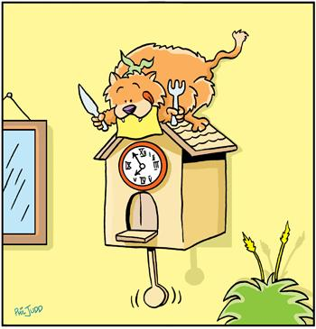 Cartoon: TP0021cats (medium) by comicexpress tagged cat,cats,feline,food,chain,cuckoo,clock,carnivore,hungry