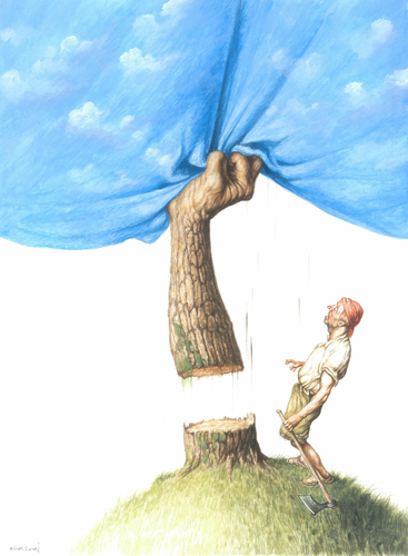 Cartoon: Man and Nature (medium) by Agim Sulaj tagged man,nature