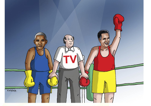 Cartoon: duel (medium) by kotrha tagged usa,vote,president,obama,romney