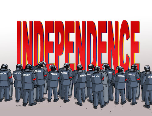 Cartoon: independ (medium) by kotrha tagged catalonia,independence,spain,europa,barcelona,madrid