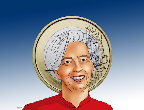 Cartoon: lagarde (medium) by kotrha tagged eu,ecb,draghi,lagarde,euro