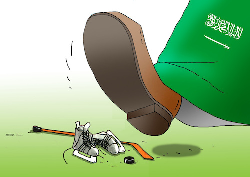Cartoon: saudokanad (medium) by kotrha tagged saudi,arabia,diplomatic,war,canada,ambassador,oil,business,activities