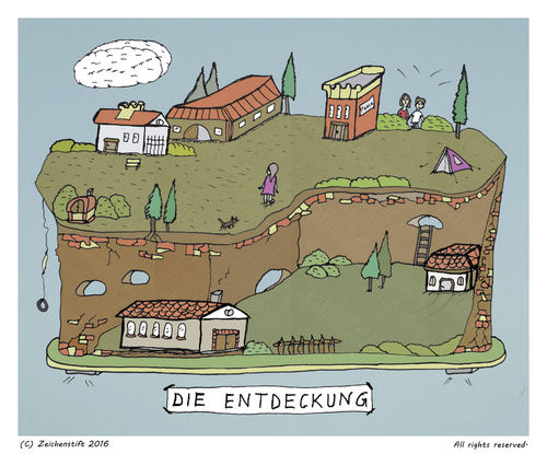 Cartoon: Die Entdeckung (medium) by zeichenstift tagged felsen,kinder,abenteuer,adventure,fantasie,fantasy,himmel,wiese,häuser,meadow,houses,trees,bäume,grün,green,kids,entdecken,kinderbuch