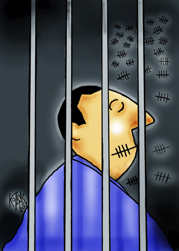 Cartoon: author (medium) by kotbas tagged prison,author,idea