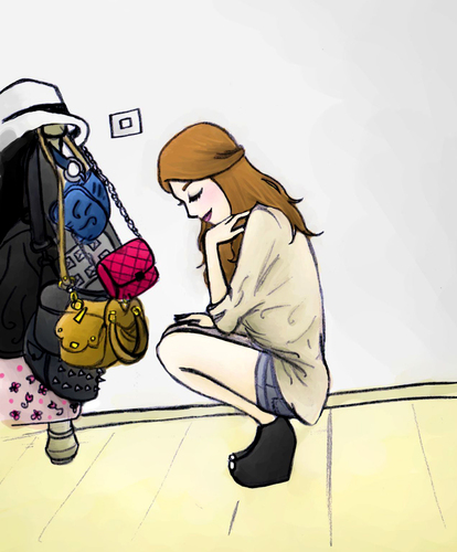 Cartoon: a girl in her room (medium) by naths tagged bags,fashion,girl