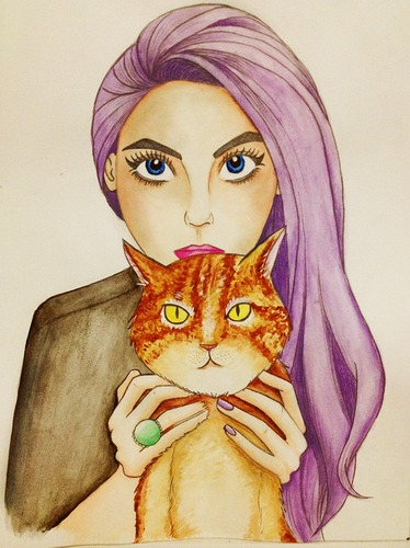 Cartoon: lilac (medium) by naths tagged girl,lilac,cat,watercolour