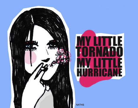 Cartoon: my little tornado (medium) by naths tagged girl,smoking,cigarrette,smoke,the,kills,colours