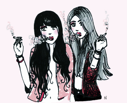 Cartoon: one day of magic (medium) by naths tagged girls,smoking,sexy,pink,fashion,cute