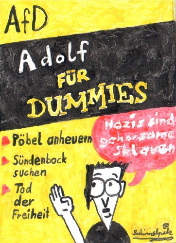 Cartoon: AfD Adolf für Dummies (medium) by Schimmelpelz-pilz tagged für,dummies,buch,adolf,hitler,afd,alternative,deutschland,neonazi,nazi,rechts,rechte,pöbel,sündenbock,seitenscheitel,minischnauzer,minibärtchen,schnauzer,bärtchen,schnurrbart