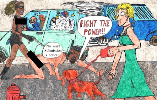 Cartoon: Fight The Power -eng- (medium) by Schimmelpelz-pilz tagged fight,the,power,bdsm,sm,sado,maso,latex,leather,domina,dom,sub,car,street,leine,dog,hound,mask