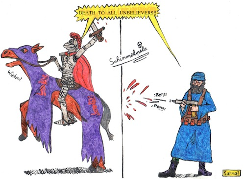Cartoon: it is not better (medium) by Schimmelpelz-pilz tagged terrorist,terrorism,knight,holy,islam,muslim,christ,christian,violence,religion,religious,war,blood,suppression