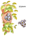 Cartoon: Stare. (small) by puvo tagged star,starling,bird,vogel,baum,tree,nest