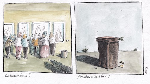 Cartoon: Eine Ausschusskultur... (medium) by JORI tagged kunst,kultur,kulturausschuss,müll,mülleimer,mülltonne,gesellschaft,kommerz,wegwerfgesellschaft