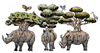 Cartoon: Living Forest (small) by javierhammad tagged illustration,surreal,nature,animals,rhino,birds,tree,branchs,jungle,ecology