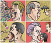 Cartoon: Screaming Heads (small) by javierhammad tagged surreal,heads,scream,fame,microphone,desire,love,sex,envy,food,ice,cream,protection,sweet,umbrella