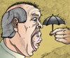 Cartoon: Screaming heads protection (small) by javierhammad tagged surreal,heads,scream,umbrella,protection