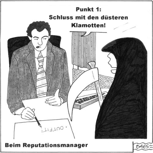 Cartoon: Beim Reputationsmanager (medium) by BAES tagged reputation,image,berater,manager,tod,mann,beruf,outfit,kleidung