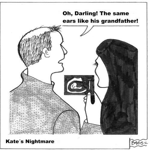 Cartoon: Kates Nightmare (medium) by BAES tagged charles,william,prince,pregnant,middleton,kate,kate,middleton,pregnant,prince,william,charles