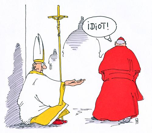 Cartoon: armer franziskus (medium) by Andreas Prüstel tagged karikatur,cartoon,arme,kirche,armut,franziskus,papst,papst,franziskus,armut,kirche,arme,cartoon,karikatur