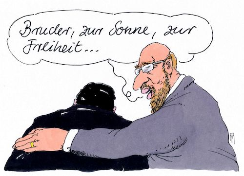 Cartoon: bruder (medium) by Andreas Prüstel tagged spd,sigmar,gabriel,martin,schulz,kanzlerkandidat,parteivorsitz,arbeiterlied,cartoon,karikatur,andreas,pruestel,spd,sigmar,gabriel,martin,schulz,kanzlerkandidat,parteivorsitz,arbeiterlied,cartoon,karikatur,andreas,pruestel