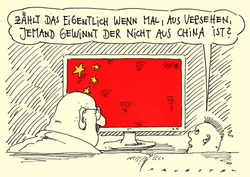 Cartoon: chinasport (medium) by Andreas Prüstel tagged olympia,china,medaillenspiegel,nationenwertung