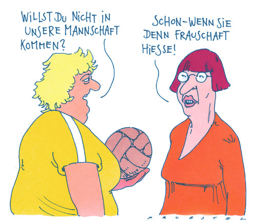 Cartoon: damensport (medium) by Andreas Prüstel tagged frauen,frauensport,mannschft,emanzipation,feminismus,ballsport,frauen,frauensport,mannschft,emanzipation,feminismus,ballsport