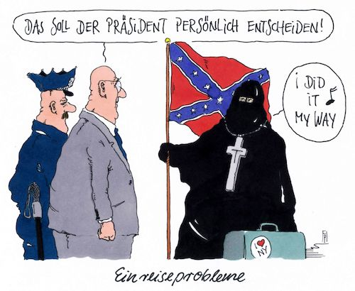 Cartoon: einreiseprobleme (medium) by Andreas Prüstel tagged usa,trump,einreisebestimmungen,muslime,cartoon,karikatur,andreas,pruestel,usa,trump,einreisebestimmungen,muslime,cartoon,karikatur,andreas,pruestel