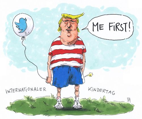 Cartoon: kindertag (medium) by Andreas Prüstel tagged internationaler,kindertag,trump,twitter,kindisch,cartoon,karikatur,andreas,pruestel,internationaler,kindertag,trump,twitter,kindisch,cartoon,karikatur,andreas,pruestel