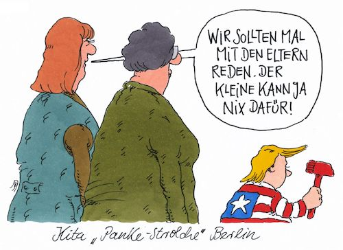 Cartoon: panke-strolche (medium) by Andreas Prüstel tagged usa,donald,trump,kita,berlin,pankow,elterngespräch,cartoon,karikatur,andreas,pruestel,usa,donald,trump,kita,berlin,pankow,elterngespräch,cartoon,karikatur,andreas,pruestel