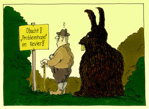 Cartoon: problemhase (medium) by Andreas Prüstel tagged wald,revier,warnhinweis,hase,problemhase,ostern,cartoon,karikatur,andreas,pruestel,wald,revier,warnhinweis,hase,problemhase,ostern,cartoon,karikatur,andreas,pruestel