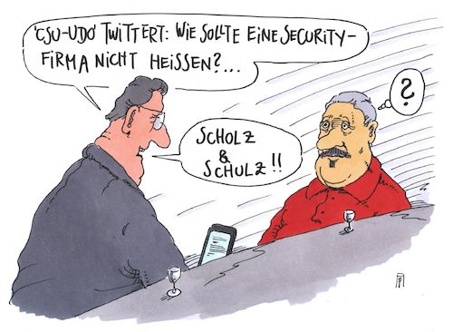 Cartoon: security (medium) by Andreas Prüstel tagged zwanzig,hamburg,krawalle,bürgermeister,scholz,spd,kanzlerkandidat,schulz,innere,sicherheit,security,wahlkampffutter,csu,union,cartoon,karikatur,andreas,pruestel,zwanzig,hamburg,krawalle,bürgermeister,scholz,spd,kanzlerkandidat,schulz,innere,sicherheit,security,wahlkampffutter,csu,union,cartoon,karikatur,andreas,pruestel