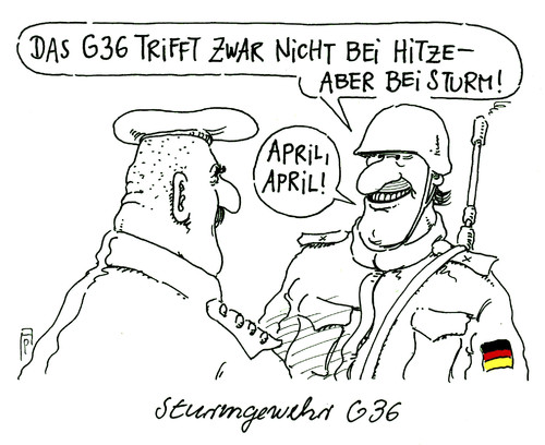 Cartoon: sturmgewehr (medium) by Andreas Prüstel tagged bundeswehr,standardgewehr,sturmgewehr,g37,treffsicherheit,hitze,sturm,april,erster,cartoon,karikatur,andreas,pruestel,bundeswehr,standardgewehr,sturmgewehr,g37,treffsicherheit,hitze,sturm,april,erster,cartoon,karikatur,andreas,pruestel