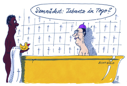 Cartoon: tebartz im außendienst (medium) by Andreas Prüstel tagged tebartz,van,elst,versetzung,auslandseinsatz,katholische,kirche,bischof,togo,afrika,badeente,cartoon,karikatur,andreas,pruestel,tebartz,van,elst,versetzung,auslandseinsatz,katholische,kirche,bischof,togo,afrika,badeente,cartoon,karikatur,andreas,pruestel