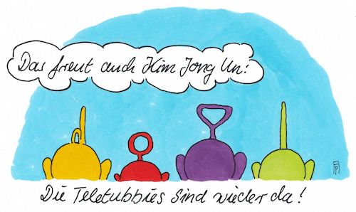 Cartoon: teletubbies (medium) by Andreas Prüstel tagged infantil,teletubbies,kim,jong,un,trump,westliche,welt,cartoon,karikatur,andreas,pruestel,infantil,teletubbies,kim,jong,un,trump,westliche,welt,cartoon,karikatur,andreas,pruestel
