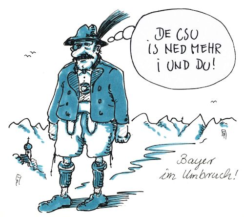 Cartoon: umbruch (medium) by Andreas Prüstel tagged bayern,csu,umfragewerte,umbruch,cartoon,karikatur,andreas,pruestel,bayern,csu,umfragewerte,umbruch,cartoon,karikatur,andreas,pruestel