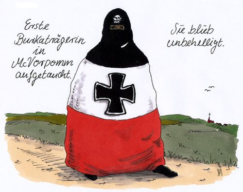 Cartoon: unbehelligt (medium) by Andreas Prüstel tagged mecklenburg,vorpommern,fremdenfeindlichkeit,islam,burka,rechtsradikale,rechtspopulismus,nationalismus,afd,cartoon,karikatur,andreas,pruestel,mecklenburg,vorpommern,fremdenfeindlichkeit,islam,burka,rechtsradikale,rechtspopulismus,nationalismus,afd,cartoon,karikatur,andreas,pruestel