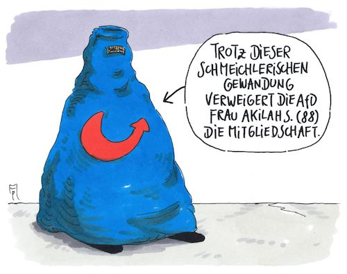 Cartoon: verweigerung (medium) by Andreas Prüstel tagged afd,bundestagswahl,fremdenfeindlichkeit,muslima,burka,islam,cartoon,karikatur,andreas,pruestel,afd,bundestagswahl,fremdenfeindlichkeit,muslima,burka,islam,cartoon,karikatur,andreas,pruestel