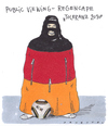 Cartoon: wm-couture (small) by Andreas Prüstel tagged fussball,toleranz,burka,publicviewing