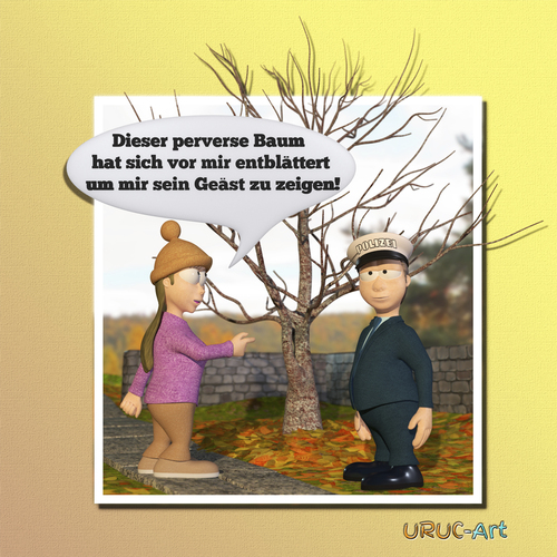 Cartoon: Entblättert (medium) by uruc-art tagged baum,natur,pervers,uruc,art,polizei,frauen