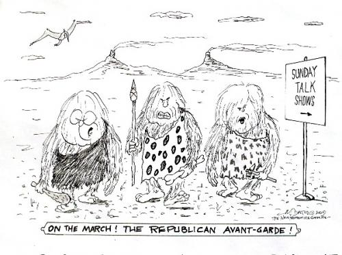Cartoon: Republican Progressives (medium) by Mike Dater tagged cheney,mccain,newt,talk,shows,neanderthals,mike,dater